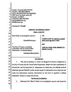 ARIZONA SUPERIOR COURT PIMA COUNTY. ) ) ) ) ) ) ) ) ) ) ) ) ) ) ) ) Introduction