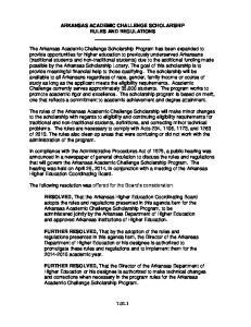 ARKANSAS ACADEMIC CHALLENGE SCHOLARSHIP RULES AND REGULATIONS