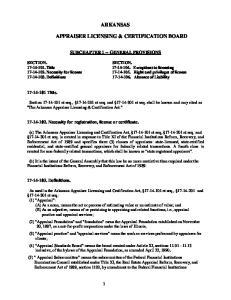 ARKANSAS APPRAISER LICENSING & CERTIFICATION BOARD