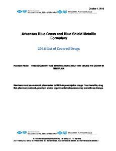Arkansas Blue Cross and Blue Shield Metallic Formulary List of Covered Drugs