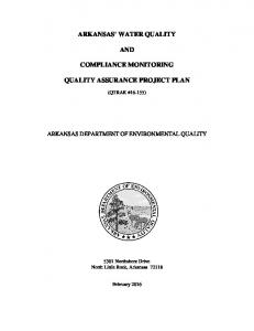 ARKANSAS' WATER QUALITY AND COMPLIANCE MONITORING QUALITY ASSURANCE PROJECT PLAN