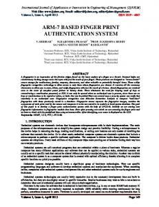 ARM-7 BASED FINGER PRINT AUTHENTICATION SYSTEM