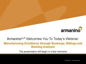 Armanino LLP Welcomes You To Today s Webinar: