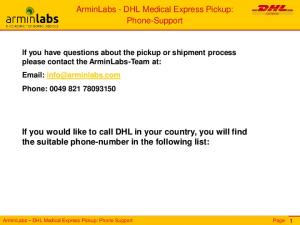 ArminLabs - DHL Medical Express Pickup: Phone-Support