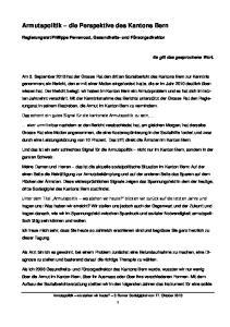 Armutspolitik die Perspektive des Kantons Bern
