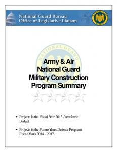 Army & Air National Guard Military Construction Program Summary