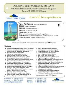 AROUND THE WORLD IN 30 DAYS 4th Annual President s Cruise from Dubai to Singapore January 25, (30) days