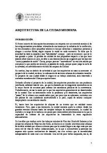 ARQUITECTURA DE LA CIUDAD MODERNA