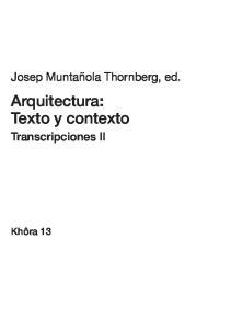 Arquitectura: Texto y contexto