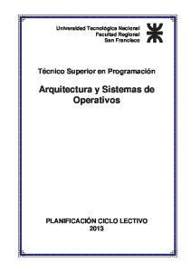 Arquitectura y Sistemas de Operativos