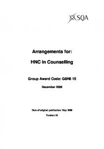 Arrangements for: HNC in Counselling