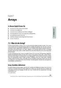 Arrays. 7.1 Was ist ein Array? Kapitel 7. In diesem Kapitel lernen Sie. Array-Variablen deklarieren