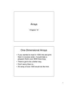 Arrays. One-Dimensional Arrays