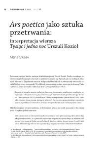 Ars poetica jako sztuka przetrwania: