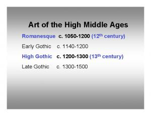 Art of the High Middle Ages