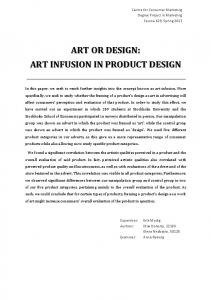 ART OR DESIGN: ART INFUSION IN PRODUCT DESIGN