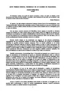 ARTE VERSUS CIENCIA: NECESIDAD DE UN CAMBIO DE PARADIGMA. Antonio Calleja Sierra Artista