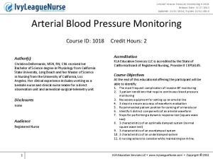 Arterial Blood Pressure Monitoring