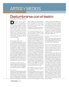 ARTES y MEDIOS. Deslumbrarse con el teatro. Entrevista con Sabina Berman D ramaturga, directora, novelista,