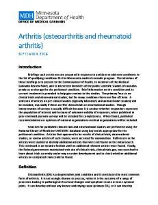 Arthritis (osteoarthritis and rheumatoid arthritis)
