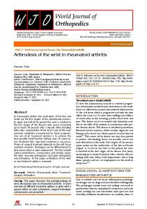 Arthrodesis of the wrist in rheumatoid arthritis