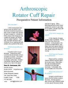 Arthroscopic Rotator Cuff Repair Preoperative Patient Information