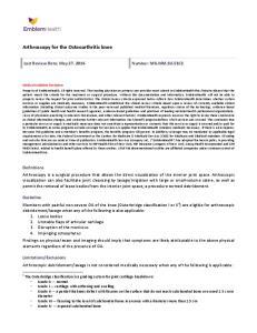 Arthroscopy for the Osteoarthritic knee