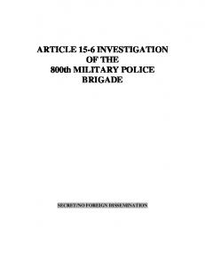 ARTICLE 15-6 INVESTIGATION OF THE 800th MILITARY POLICE BRIGADE