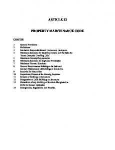 ARTICLE 22 PROPERTY MAINTENANCE CODE