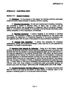 ARTICLE 7.2 ARTICLE 7.2 ELECTRICAL CODE