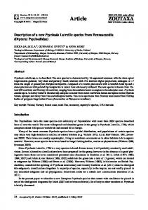 Article. Description of a new Psychoda Latreille species from Fennoscandia (Diptera: Psychodidae)