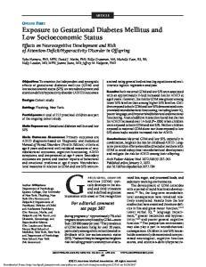 ARTICLE. Exposure to Gestational Diabetes Mellitus and Low Socioeconomic Status