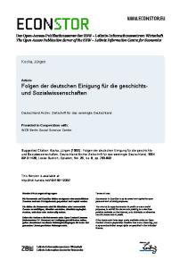 Article Folgen der deutschen Einigung für die geschichtsund Sozialwissenschaften. Deutschland Archiv: Zeitschrift für das vereinigte Deutschland
