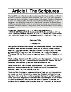 Article I. The Scriptures