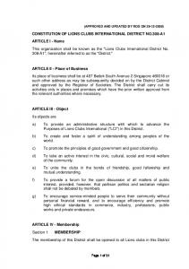 ARTICLE IV - Membership Section 1. MEMBERSHIP The membership of this District shall be opened to all Lions clubs in this District