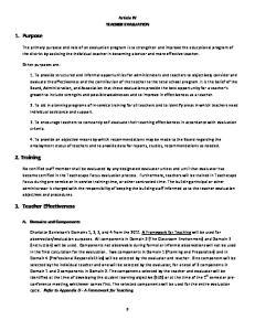 Article IV TEACHER EVALUATION