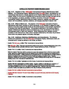 ARTICLE IX PROPERTY MAINTENANCE CODE