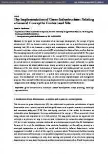 Article The Implementation of Green Infrastructure: Relating a General Concept to Context and Site