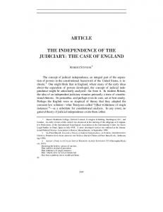 ARTICLE THE INDEPENDENCE OF THE JUDICIARY: THE CASE OF ENGLAND