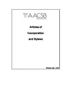 Articles of. Incorporation. and Bylaws