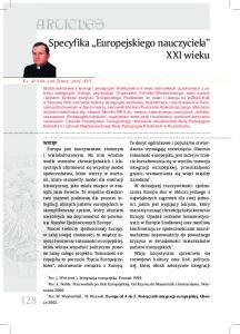 ARTICLES. Specyfika Europejskiego nauczyciela XXI wieku. Ks. dr hab. Jan Zimny, prof. KUL