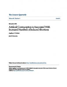 Artificial Contraception is Associated With Increased Numbers of Induced Abortions