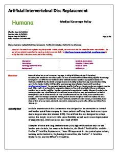 Artificial Intervertebral Disc Replacement