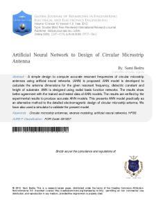 Artificial NeuralNetworktoDesignofCircularMicrostripAntenna. Artificial Neural Network to Design of Circular Microstrip Antenna