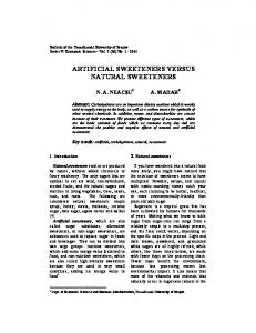 ARTIFICIAL SWEETENERS VERSUS NATURAL SWEETENERS