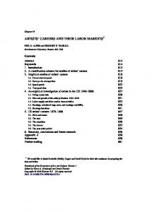 ARTISTS CAREERS AND THEIR LABOR MARKETS *