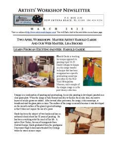 ARTISTS WORKSHOP NEWSLETTER