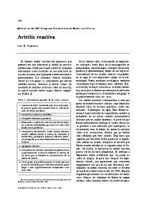 Artritis reactiva. Memorias del XII Congreso Colombiano de Medicina Interna. Luis R. Espinosa