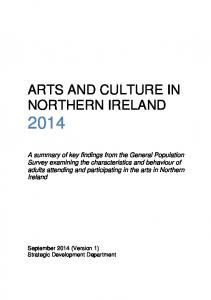 ARTS AND CULTURE IN NORTHERN IRELAND 2014