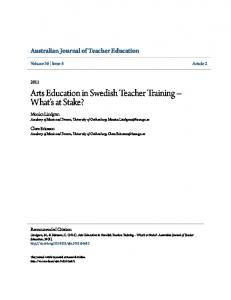 Arts Education in Swedish Teacher Training What s at Stake?
